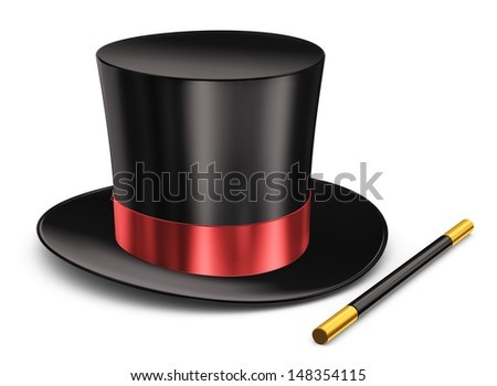 Black silk magic hat with red ribbon and magic wand stick isolated on white background