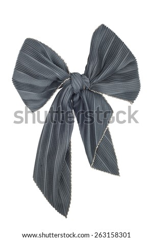 Black silk scarf folded like bow isolated on white background. Female accessory.