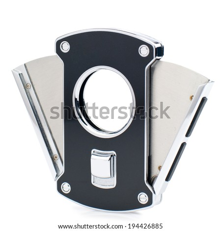 Black silver cigar cutter isolated on white background. - stock photo
