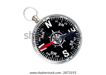black & silver compass, pointing west, isolated on white - stock photo