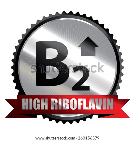 Black Silver High Riboflavin B2 Vitamin Ribbon, Badge, Icon, Sticker, Banner, Tag, Sign or Label Isolated on White Background - stock photo