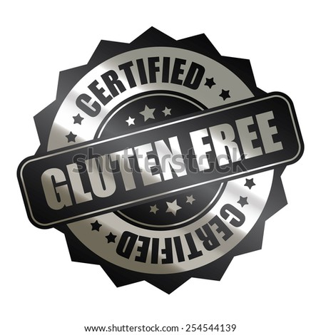 black silver metallic gluten free certified sticker, banner, sign, icon, label isolated on white - stock photo