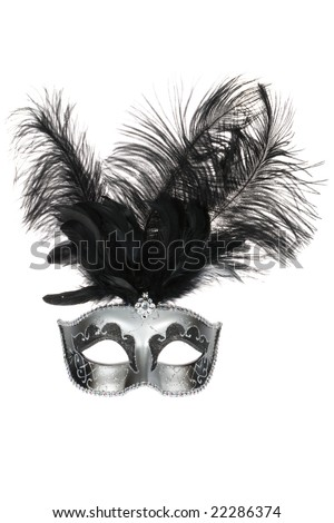 Black silver venetian carnival mask with feathers isolated on white background - stock photo