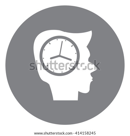 Black Simple Circle Head With Clock Infographics Flat Icon, Sign Isolated on White Background