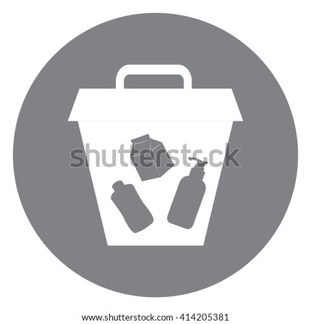 Black Simple Circle Litter Bin Infographics Flat Icon, Sign Isolated on White Background - stock photo