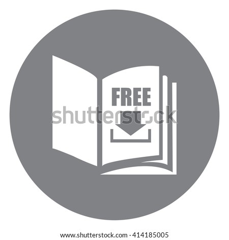 Black Simple Circle Open Book With Free Download Infographics Flat Icon, Sign Isolated on White Background - stock photo