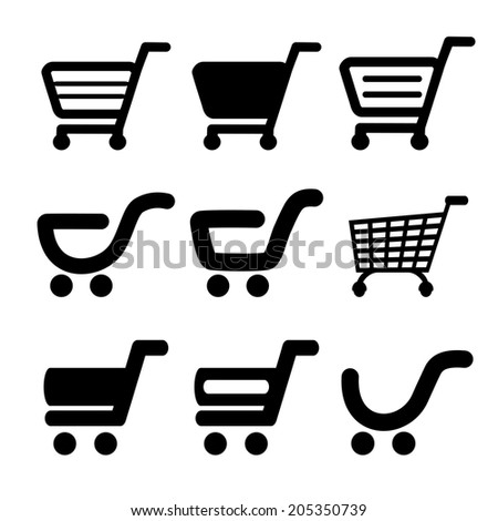 black simple shopping cart, trolley, item, button
