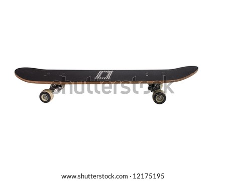 black skateboard isolated on a white background