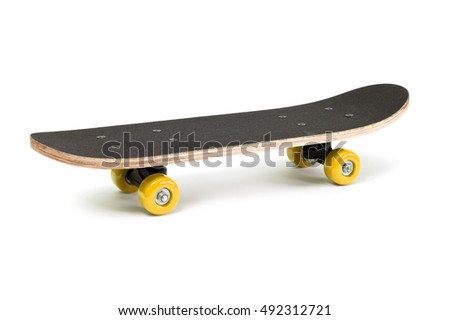 Black skateboard isolated on a white background.