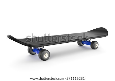 black skateboard isolated on white background - stock photo