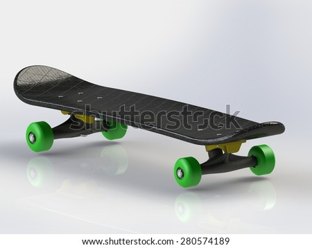 Black Skateboard with green wheels on a reflective floor