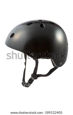 Black skater Helmet isolated on white background - stock photo