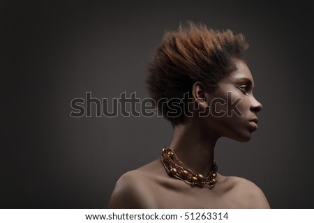 Black skin .African woman.Beauty professional fashion model,studio shot with cool make up.Beautiful African American girl. - stock photo