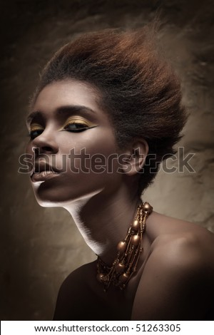 Black skin girl Beauty professional fashion model,studio shot with cool make up.Beautiful African American woman. - stock photo