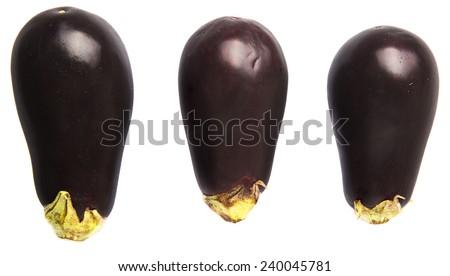 Black skinned eggplant over white background - stock photo