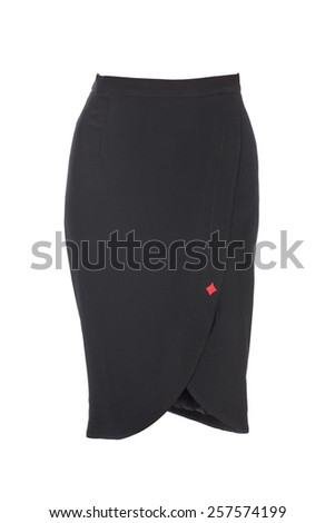 Black skirt isolated on white background - stock photo
