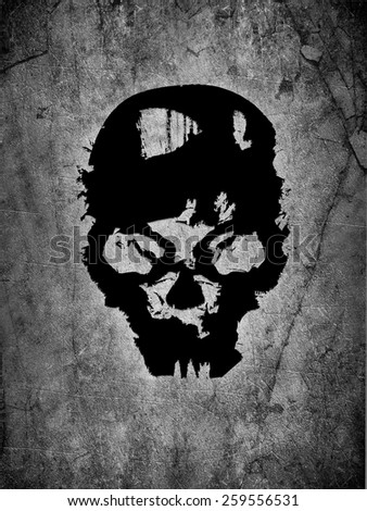 black skull background - stock photo