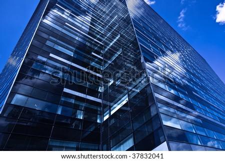 Black skyscraper in business centre - stock photo