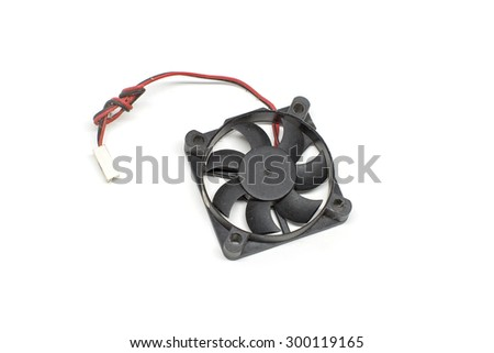 Black small fan and blades for computer with 3 pin cable on white background - stock photo