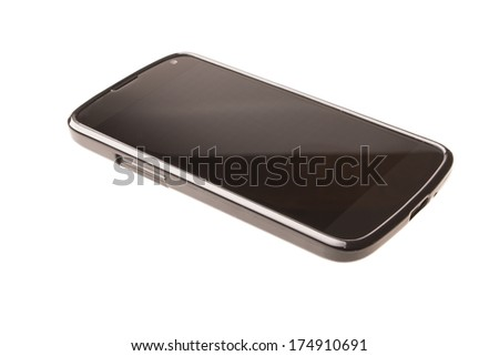 Black smart phone or tablet isolated on white background - stock photo