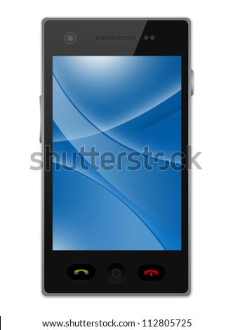 Black Smart Phone With Blank Blue Curve Line in The Screen Isolated on White Background