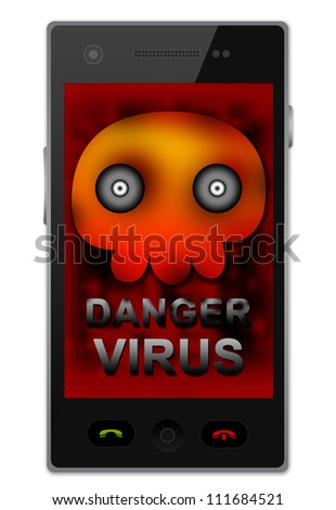 Black Smart Phone With Skull and Virus Alert Text on Screen For Mobile Phone Virus Concept Isolated on White Background - stock photo