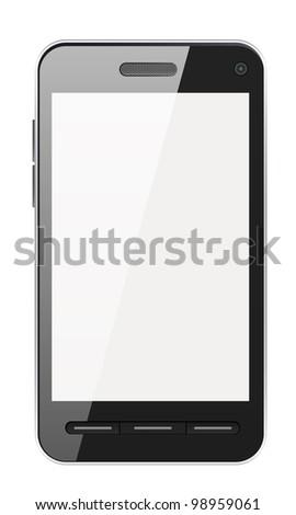 Black smartphone isolated on white background - stock photo