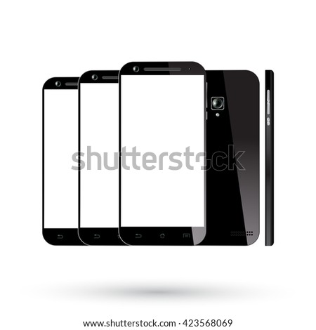 Black smartphone isolated. Smartphones set. Mobile phone mockup. Illustration. - stock photo