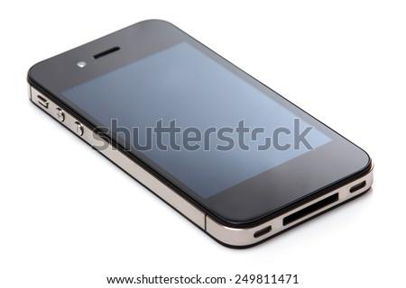 Black smartphone on white background - stock photo