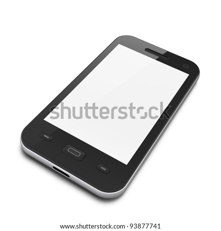 Black smartphone on white background, 3d render. Glossy smart phone with blank screen, isolated. - stock photo