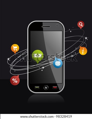 Black smartphone with app on dark background. Mobile or Cell Phone device illustration. - stock photo