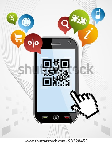 Black smartphone with QR code app on white background. - stock photo