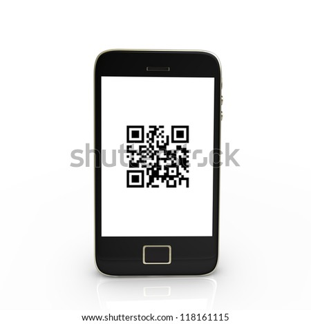 Black smartphone with QR-Code, isolated on white. - stock photo