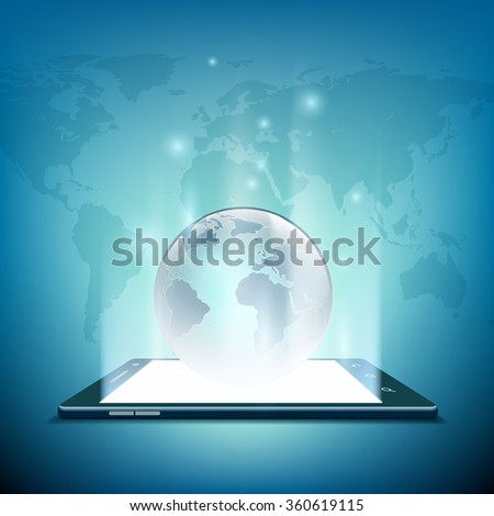 Black smartphone with white screen. Planet earth on the screen. Three-dimensional image. Rays of light from the screen. Stock illustration. - stock photo