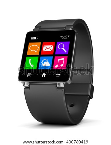 Black Smartwatch with App Icons, Time and Battery Level on Display on White Background 3D Illustration