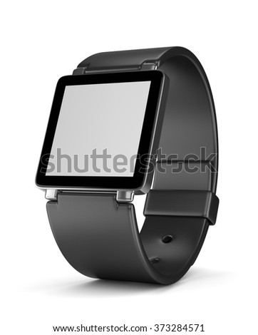 Black Smartwatch with Blank Display on White Background 3D Illustration - stock photo