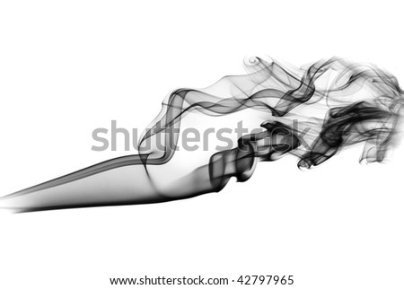 Black smoke shapes over the white background