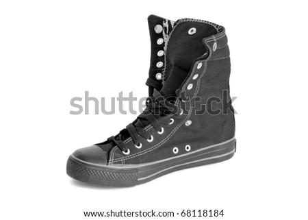 black sneaker isolated on white background