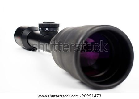 black sniper scope isolated on white background - stock photo