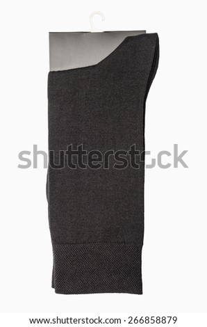 Black socks isolated on a white background - stock photo
