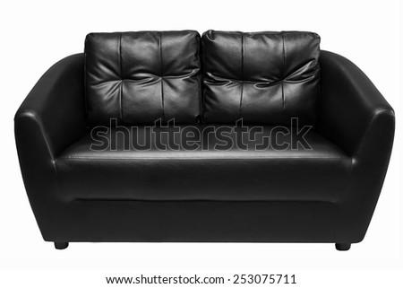 black sofa isolated on white backgraound  - stock photo