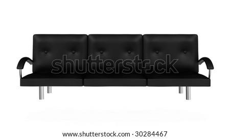 Black sofa isolated on white background. - stock photo