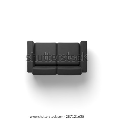 Black sofa isolated on white empty floor background, 3d illustration, top view - stock photo