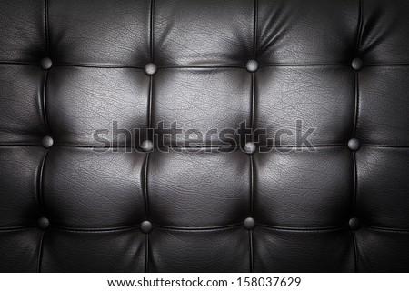 Black Sofa Leather Background - stock photo