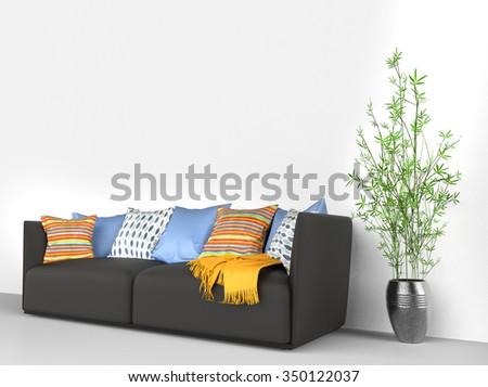 Black Sofa Lots Stuff On Stock Illustration 350122037 - Shutterstock