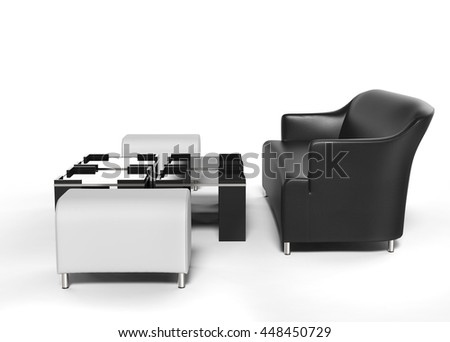 Black sofa with white ottomans on the side and coffee tables in front of it - isolated on white - 3D render