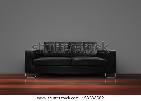 Black sofa with wooden floor gray concrete wall in empty living room interior loft style