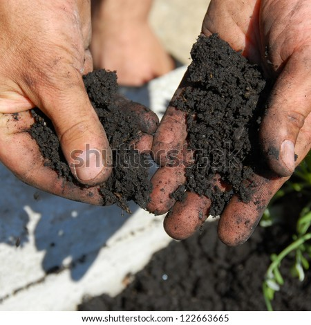 black soil for planting flowers in man hands closeup - stock photo