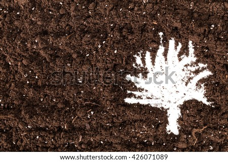 Black Soil Texture Background. Top View