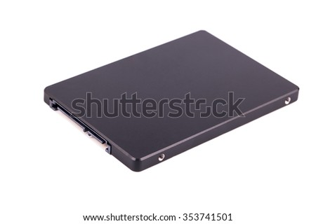 Black solid state drive (SSD) for your computer isolated on a white background - stock photo